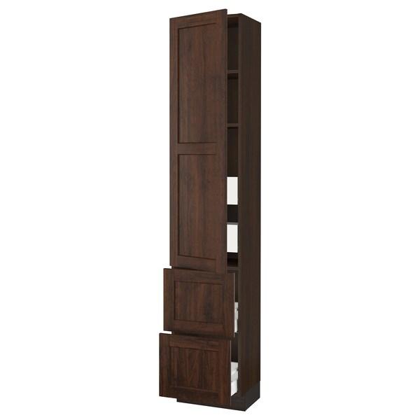 "SEKTION / MAXIMERA High cab w door/2 fronts/4 drawers, brown/Edserum brown, 18x15x90 """