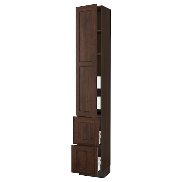 SEKTION / MAXIMERA High cab w door/2 fronts/4 drawers, brown/Edserum brown, 15x15x90 ""