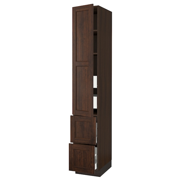 SEKTION / MAXIMERA High cab w door/2 fronts/4 drawers, brown/Edserum brown, 15x24x90 ""