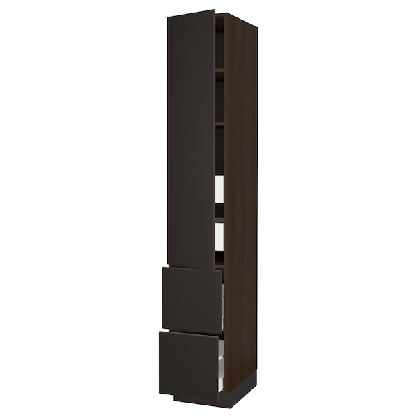 SEKTION / MAXIMERA High cab w door/2 fronts/4 drawers, brown/Kungsbacka anthracite, 15x24x90 ""