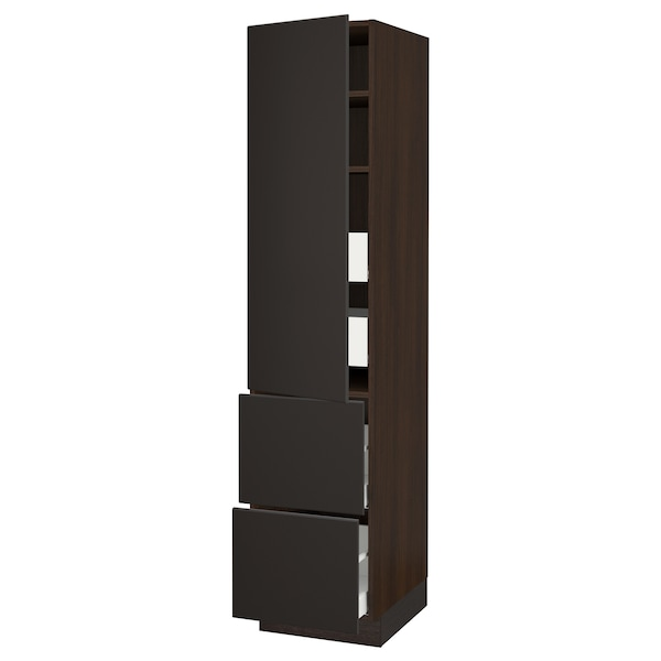 """SEKTION / MAXIMERA High cab w door/2 fronts/4 drawers, brown/Kungsbacka anthracite, 18x24x80 """""""