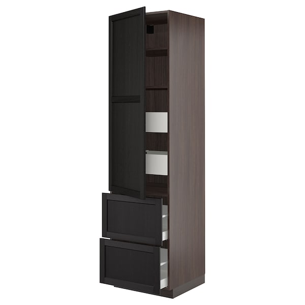 """SEKTION / MAXIMERA High cab w door/2 fronts/4 drawers, brown/Lerhyttan black stained, 24x24x90 """""""