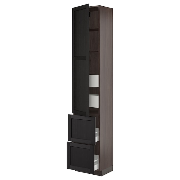 """SEKTION / MAXIMERA High cab w door/2 fronts/4 drawers, brown/Lerhyttan black stained, 18x15x90 """""""