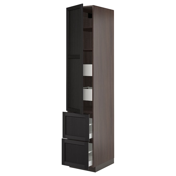 SEKTION / MAXIMERA High cab w door/2 fronts/4 drawers, brown/Lerhyttan black stained, 18x24x90 ""