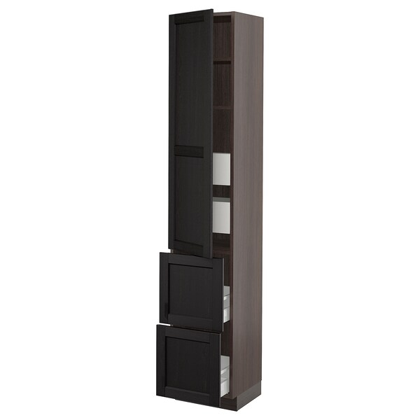 """SEKTION / MAXIMERA High cab w door/2 fronts/4 drawers, brown/Lerhyttan black stained, 15x15x80 """""""