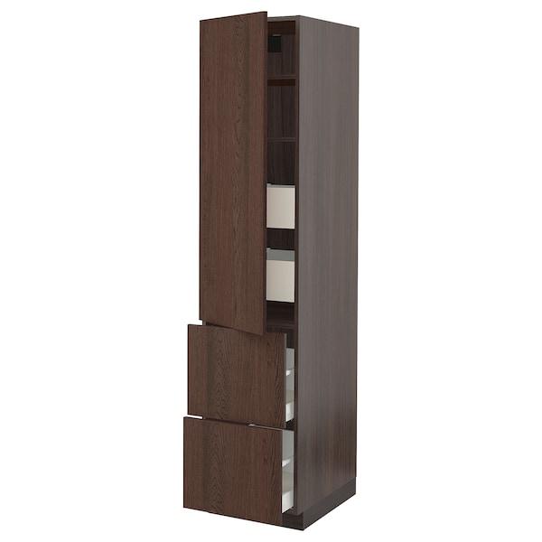 "SEKTION / MAXIMERA High cab w door/2 fronts/4 drawers, brown/Sinarp brown, 18x24x80 """