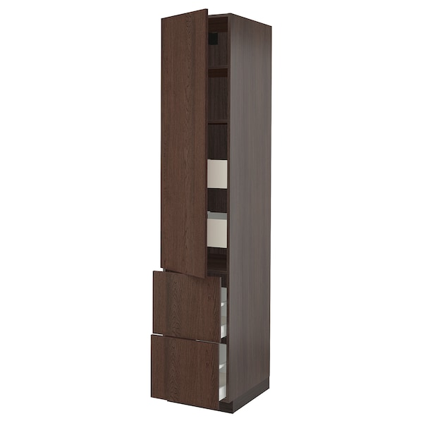 SEKTION / MAXIMERA High cab w door/2 fronts/4 drawers, brown/Sinarp brown, 18x24x90 ""