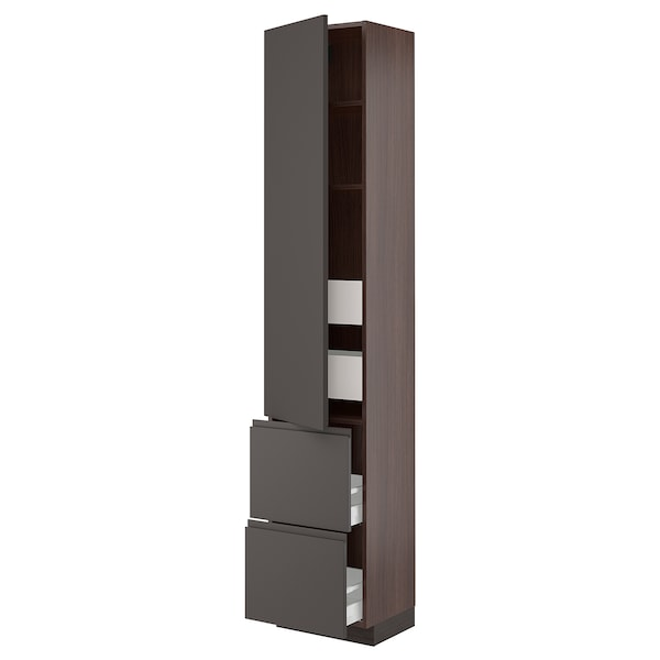 SEKTION / MAXIMERA High cab w door/2 fronts/4 drawers, brown/Voxtorp dark gray, 18x15x90 ""