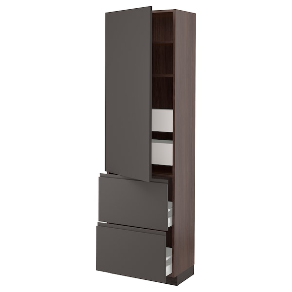SEKTION / MAXIMERA High cab w door/2 fronts/4 drawers, brown/Voxtorp dark gray, 24x15x80 ""