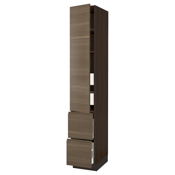 "SEKTION / MAXIMERA High cab w door/2 fronts/4 drawers, brown/Voxtorp walnut effect, 15x24x90 """