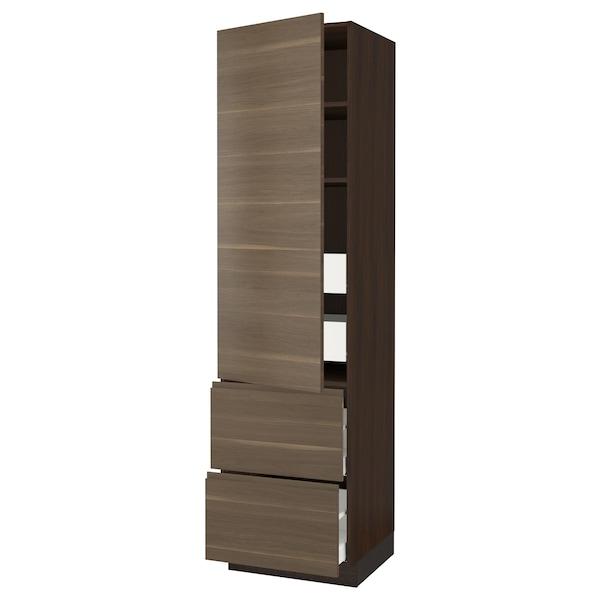 "SEKTION / MAXIMERA High cab w door/2 fronts/4 drawers, brown/Voxtorp walnut effect, 24x24x90 """