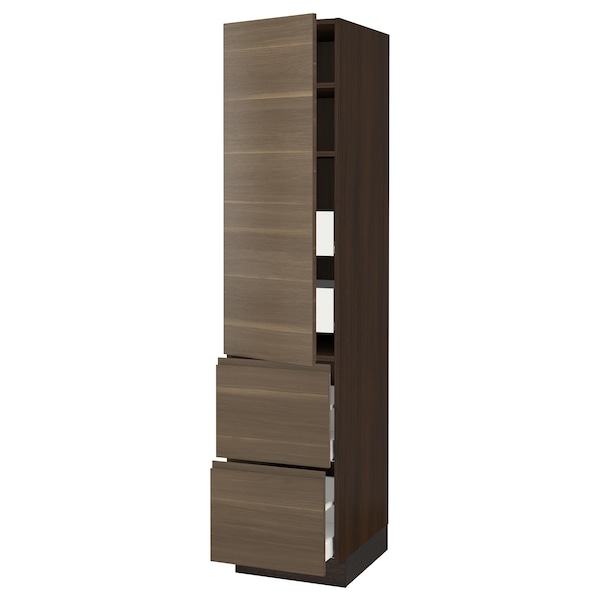 SEKTION / MAXIMERA High cab w door/2 fronts/4 drawers, brown/Voxtorp walnut effect, 18x24x80 ""