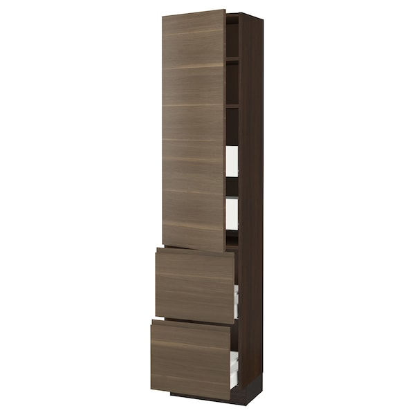 SEKTION / MAXIMERA High cab w door/2 fronts/4 drawers, brown/Voxtorp walnut effect, 18x15x80 ""