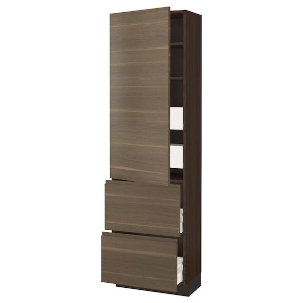 "SEKTION / MAXIMERA High cab w door/2 fronts/4 drawers, brown/Voxtorp walnut effect, 24x15x80 """