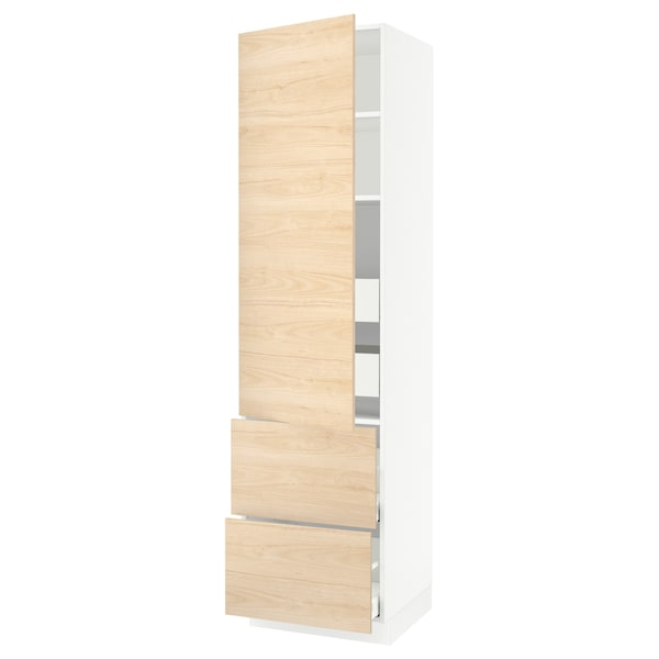 """SEKTION / MAXIMERA High cab w door/2 fronts/4 drawers, white/Askersund light ash effect, 24x24x90 """""""
