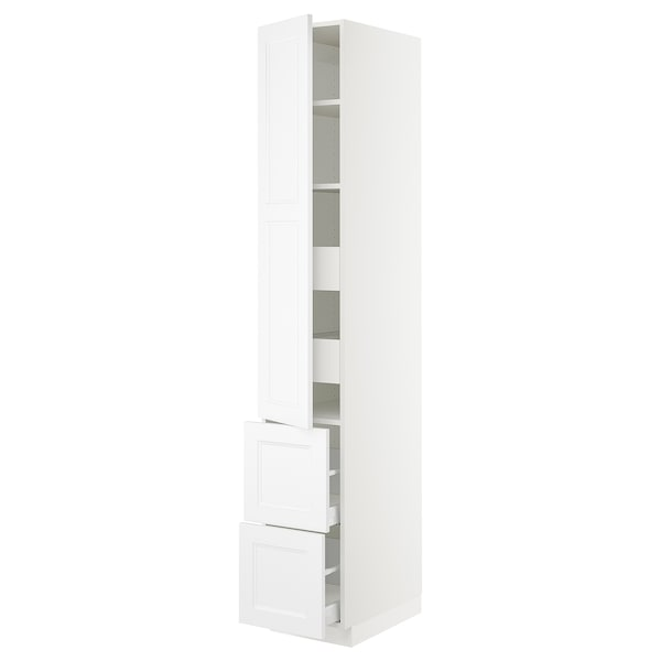 SEKTION / MAXIMERA High cab w door/2 fronts/4 drawers, white/Axstad matt white, 15x24x90 ""