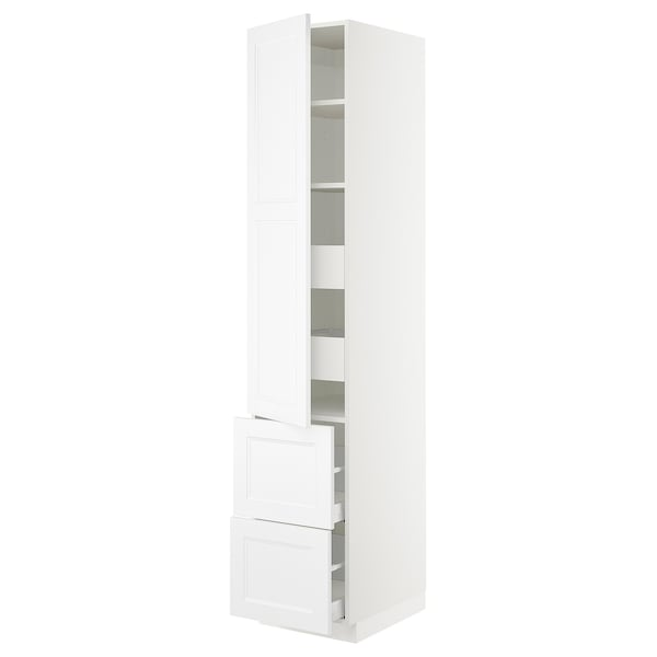 SEKTION / MAXIMERA High cab w door/2 fronts/4 drawers, white/Axstad matt white, 18x24x90 ""