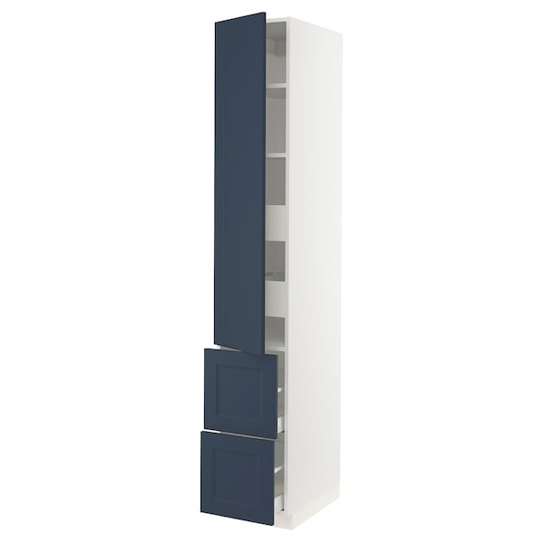 """SEKTION / MAXIMERA High cab w door/2 fronts/4 drawers, white Axstad/matte blue, 15x24x90 """""""