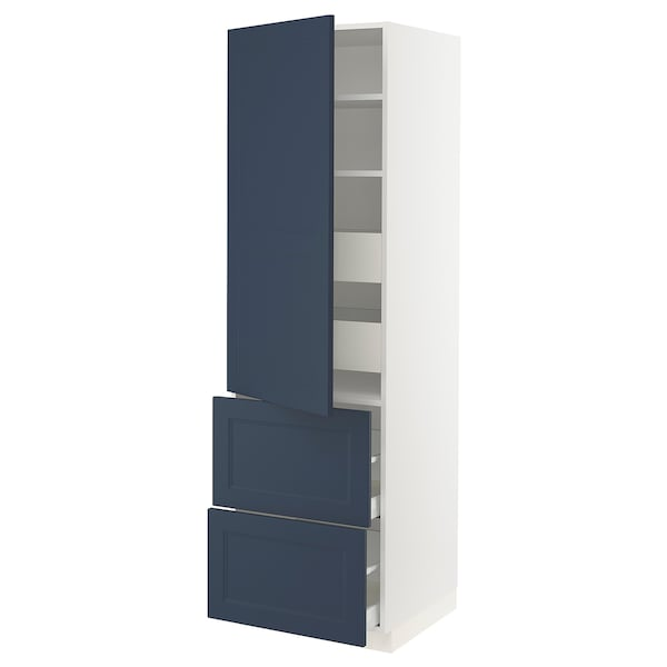 """SEKTION / MAXIMERA High cab w door/2 fronts/4 drawers, white Axstad/matte blue, 24x24x80 """""""