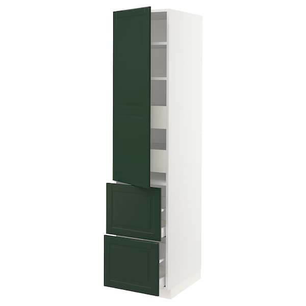 SEKTION / MAXIMERA High cab w door/2 fronts/4 drawers, white/Bodbyn dark green, 18x24x80 ""