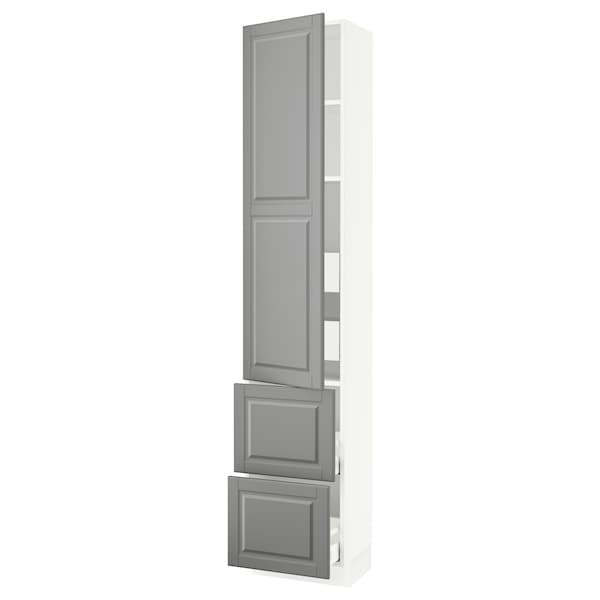 """SEKTION / MAXIMERA High cab w door/2 fronts/4 drawers, white/Bodbyn gray, 18x15x90 """""""