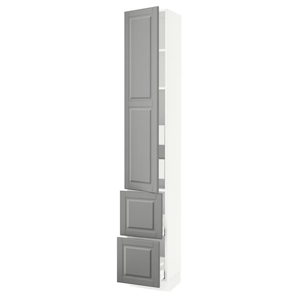 SEKTION / MAXIMERA High cab w door/2 fronts/4 drawers, white/Bodbyn gray, 15x15x90 ""