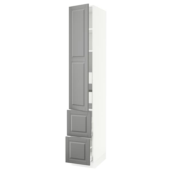 """SEKTION / MAXIMERA High cab w door/2 fronts/4 drawers, white/Bodbyn gray, 15x24x90 """""""