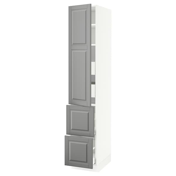 SEKTION / MAXIMERA High cab w door/2 fronts/4 drawers, white/Bodbyn gray, 15x24x80 ""