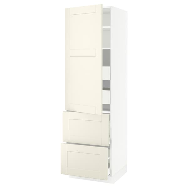 """SEKTION / MAXIMERA High cab w door/2 fronts/4 drawers, white/Grimslöv off-white, 24x24x80 """""""