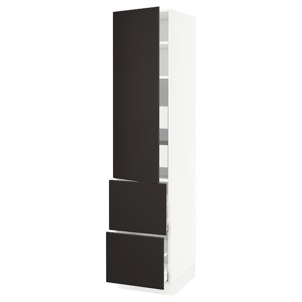 """SEKTION / MAXIMERA High cab w door/2 fronts/4 drawers, white/Kungsbacka anthracite, 18x24x80 """""""