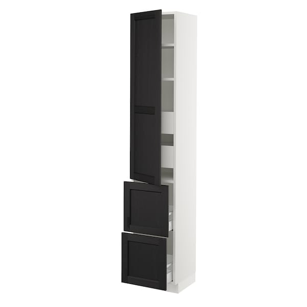 """SEKTION / MAXIMERA High cab w door/2 fronts/4 drawers, white/Lerhyttan black stained, 15x15x80 """""""