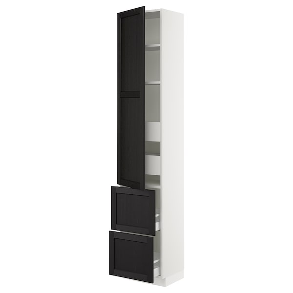 """SEKTION / MAXIMERA High cab w door/2 fronts/4 drawers, white/Lerhyttan black stained, 18x15x90 """""""