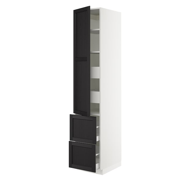 """SEKTION / MAXIMERA High cab w door/2 fronts/4 drawers, white/Lerhyttan black stained, 18x24x90 """""""