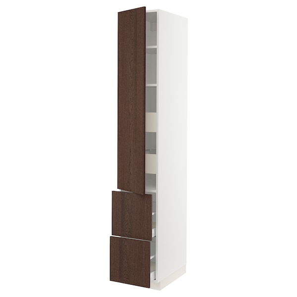 SEKTION / MAXIMERA High cab w door/2 fronts/4 drawers, white/Sinarp brown, 15x24x90 ""