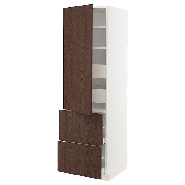SEKTION / MAXIMERA High cab w door/2 fronts/4 drawers, white/Sinarp brown, 24x24x80 ""