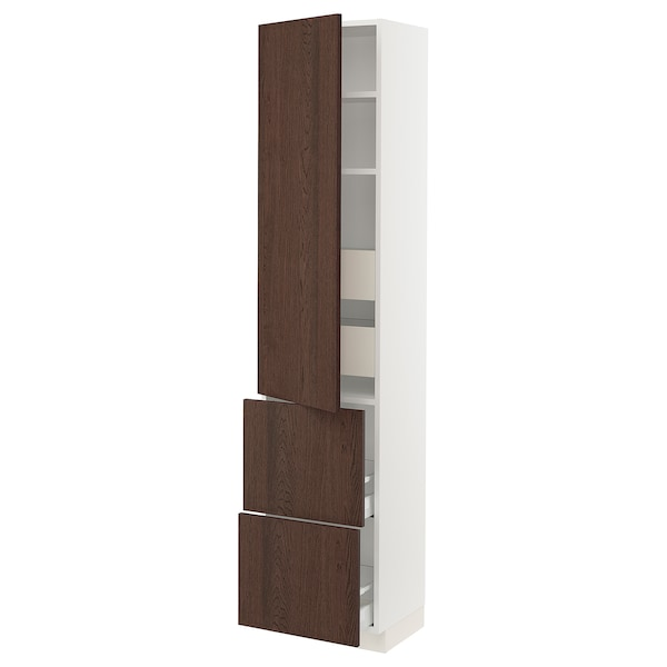 """SEKTION / MAXIMERA High cab w door/2 fronts/4 drawers, white/Sinarp brown, 18x15x80 """""""