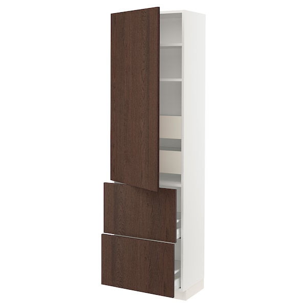 """SEKTION / MAXIMERA High cab w door/2 fronts/4 drawers, white/Sinarp brown, 24x15x80 """""""