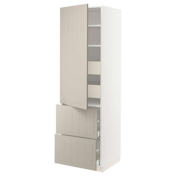 """SEKTION / MAXIMERA High cab w door/2 fronts/4 drawers, white/Stensund beige, 24x24x80 """""""