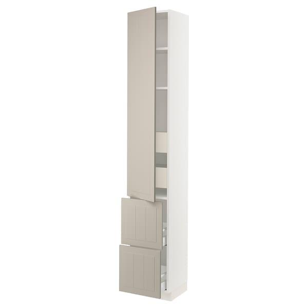 """SEKTION / MAXIMERA High cab w door/2 fronts/4 drawers, white/Stensund beige, 15x15x90 """""""