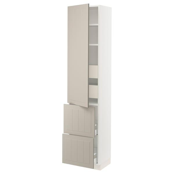 """SEKTION / MAXIMERA High cab w door/2 fronts/4 drawers, white/Stensund beige, 18x15x80 """""""
