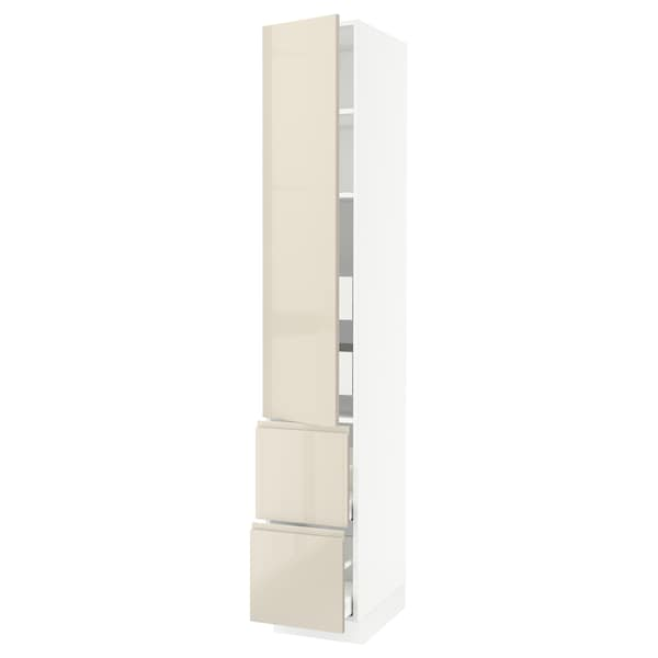 SEKTION / MAXIMERA High cab w door/2 fronts/4 drawers, white/Voxtorp high-gloss light beige, 15x24x90 ""