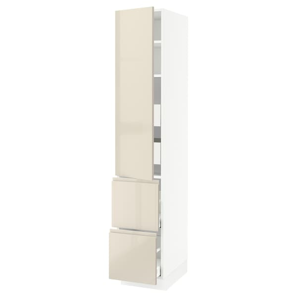 """SEKTION / MAXIMERA High cab w door/2 fronts/4 drawers, white/Voxtorp high-gloss light beige, 15x24x80 """""""