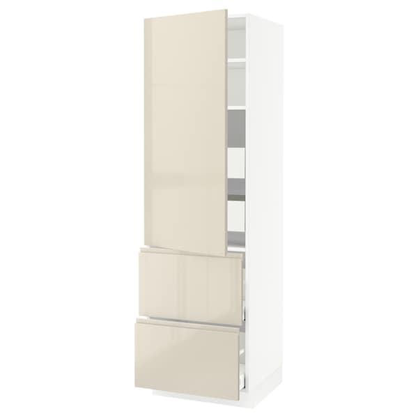 """SEKTION / MAXIMERA High cab w door/2 fronts/4 drawers, white/Voxtorp high-gloss light beige, 24x24x80 """""""