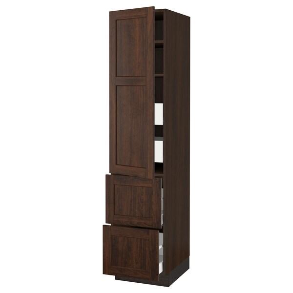 "SEKTION / MAXIMERA high cab w door/2 fronts/4 drawers brown/Edserum brown 18 "" 24 "" 24 3/4 "" 80 """