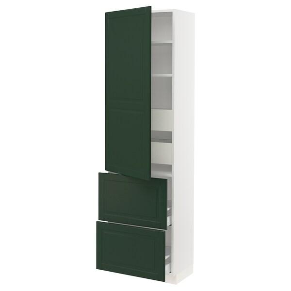 "SEKTION / MAXIMERA high cab w door/2 fronts/4 drawers white/Bodbyn dark green 24 "" 15 "" 15 1/2 "" 80 """