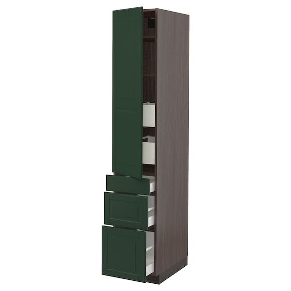 "SEKTION / MAXIMERA High cab w door/3 fronts/5 drawers, brown/Bodbyn dark green, 15x24x80 """