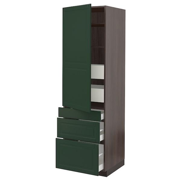 "SEKTION / MAXIMERA High cab w door/3 fronts/5 drawers, brown/Bodbyn dark green, 24x24x80 """