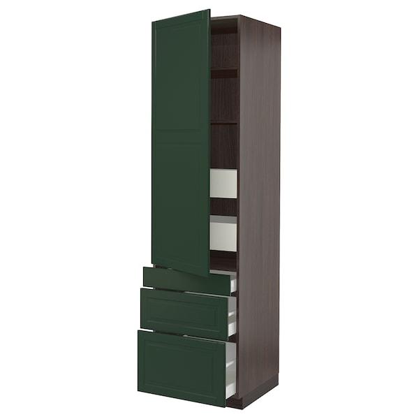 "SEKTION / MAXIMERA High cab w door/3 fronts/5 drawers, brown/Bodbyn dark green, 24x24x90 """