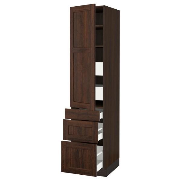 "SEKTION / MAXIMERA High cab w door/3 fronts/5 drawers, brown/Edserum brown, 18x24x80 """