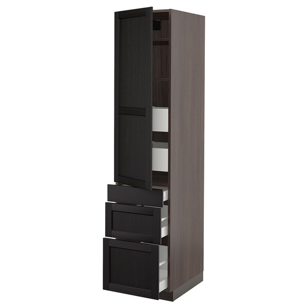 """SEKTION / MAXIMERA High cab w door/3 fronts/5 drawers, brown/Lerhyttan black stained, 18x24x80 """""""